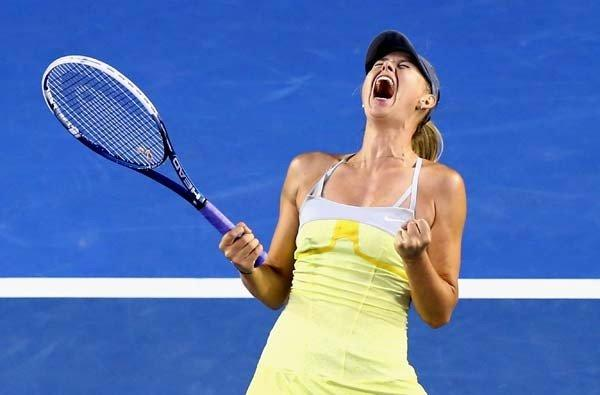 Maria Sharapova reacts after serving an ace to finish off a victory over Venus Williams in the Australian Open on Friday.