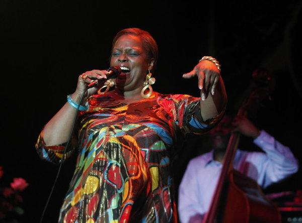 Dianne Reeves, performing in the Chicago Jazz Festival, at Petrillo Music Shelll, in Chicago's Grant Park last year.