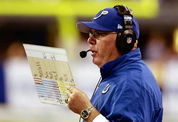 The Colts' Bruce Arians reads from his play sheet during an NFL football game in Indianapolis, Indiana