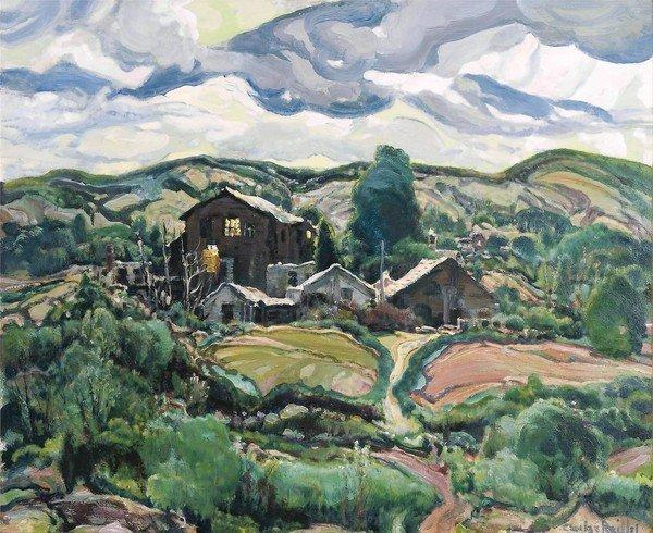 """Back Country Houses,"" circa 1935, oil on canvas, by Charles Reiffel."