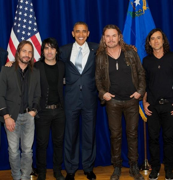 President Obama and the Mexican rock band Mana, which will perform at his 2013 inaugural ball.