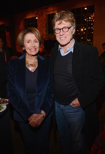 Nancy Pelosi, Minority Leader of the U.S. House of Representatives, and Robert Redford, founder of the Sundance Film Festival, attend Artist at the Table, a benefit for the Sundance Institute.