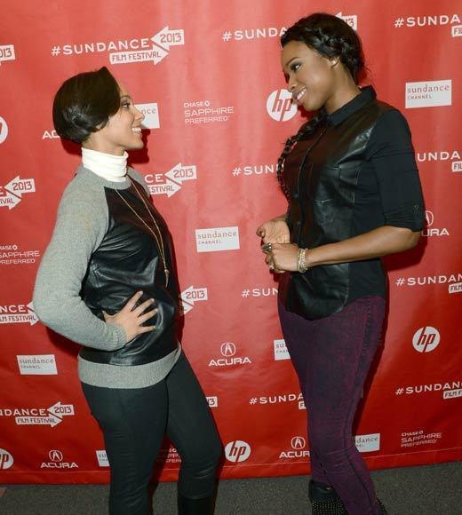 Sundance Film Festival 2013 celebrity sightings: Singer Alicia Keys (L) making a surprise appearance along with actress/singer Jennifer Hudson at a volunteer screening of The Inevitable Defeat of Mister and Pete during the 2013 Sundance Film Festival.