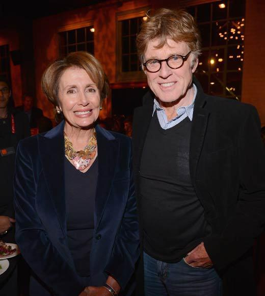 Minority Leader of the United States House of Representatives Nancy Pelosi and President and Founder of the Sundance Film Festival Robert Redford attend An Artist At The Table, a benefit for the Sundance Institute during the 2013 Sundance Film Festival.