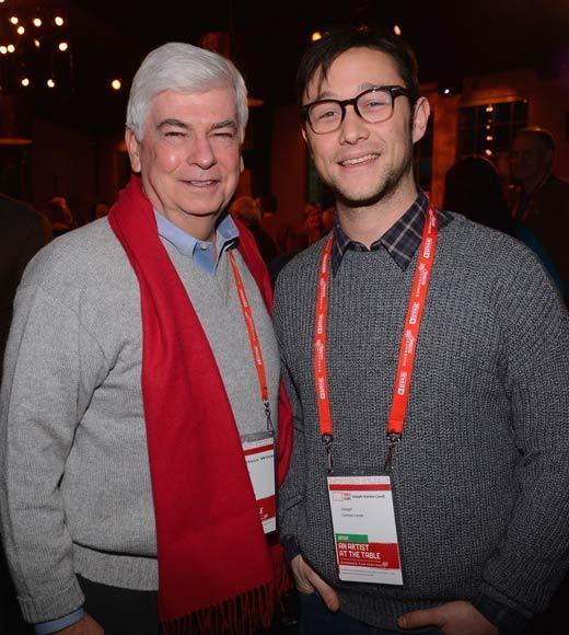Chairman and CEO of the Motion Picture Association of America Christopher Dodd and actor Joseph Gordon-Levitt attend An Artist At The Table, a benefit for the Sundance Institute during the 2013 Sundance Film Festival.