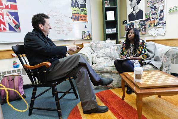 Writer Tony Kushner is interviewed by Kanzanira Thorington, 17, from Middletown, who is a senior at Kingswood-Oxford.