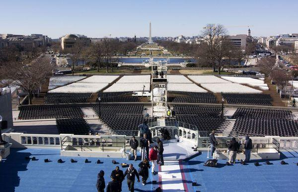 Workers prepare the stage on Friday for Monday's inauguration ceremony at the U.S. Capitol in Washington.