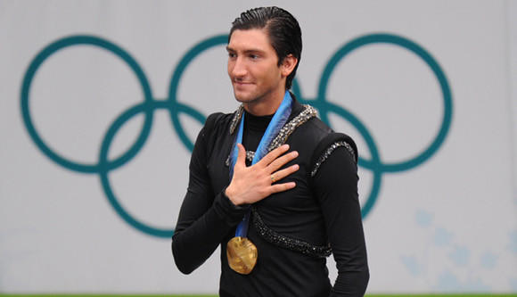 Evan Lysacek at the 2010 Olympic awards ceremony.
