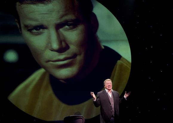 "William Shatner in an earlier show of ""Shatner's World: We Just Live in It."" He performed Thursday at Segerstrom Center for the Arts."