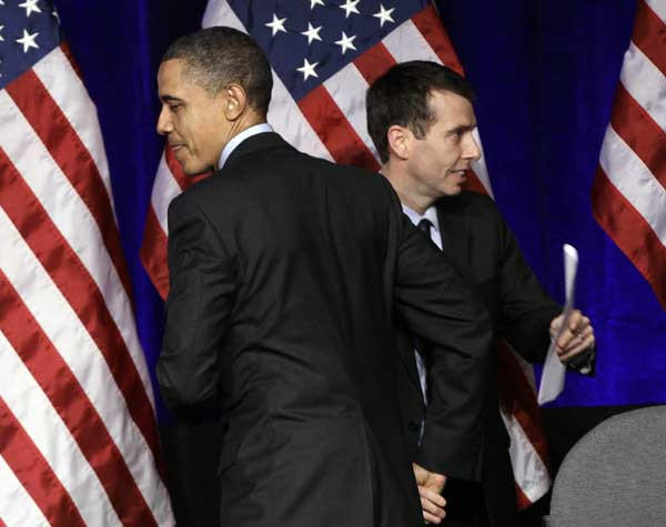 "President Barack Obama, left, with advisor David Plouffe, who will be a guest on ""State of the Union With Candy Crowley,"" ""This Week With George Stephanopoulos"" and ""Fox News Sunday With Chris Wallace."""