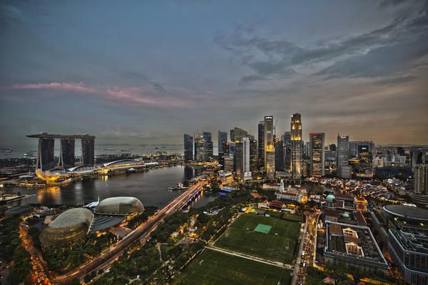 The Singapore skyline at dusk.