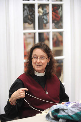 Rev. Laura Thomas Howell, the priest at Trinity Episcoopal Church in Bethlehem, is the founder of the Caring Crafters. The Caring Crafters is a charity knit and crotchet group that gathers on Thursdays from 3:30-5:30 at the Knitter's Edge in Bethlehem. They started making chemo caps for people having chemotherapy and have expanded to donating to Nurse Family Partnership, hospitals and military abroad.