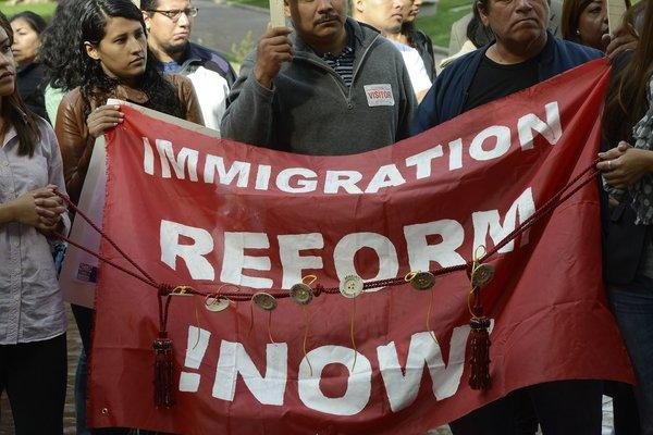 Immigration reform demonstrators gather in front of Los Angeles City Hall in November.