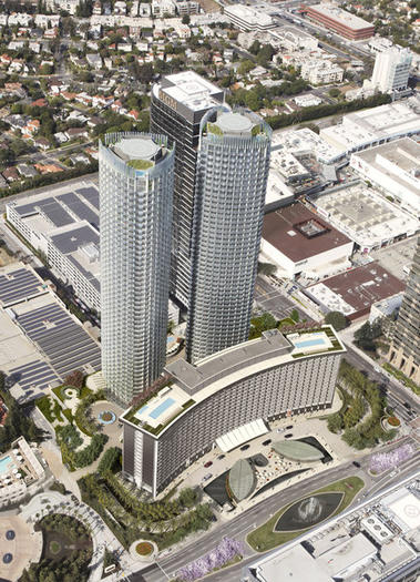 A rendering of the two 46-story residential towers that are to be built behind the Century Plaza Hotel in Century City.
