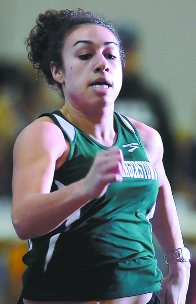 South Hagerstown's Hayley Freeman races to victory in the girls 55-meter dash Friday at the county championships.