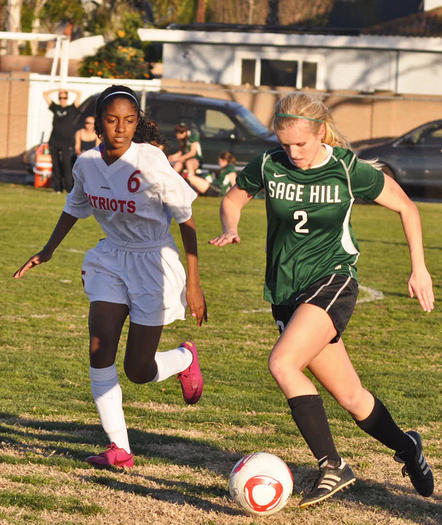 Sage Hill School's Campbell Moore (2) moves the ball upfield against Oxford Academy.