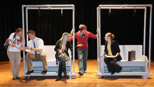 Somewhere in Between is set in modern-day New York City. From left are Mary Elizabeth Wachs, Mitch Musel, Mattie Zerr, Kyle Martin and Rachel Morrison.