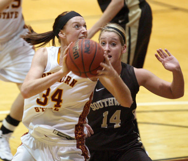 Northern State University's Megan Mutchler, left, makes a move to the basket as Southwest Minnesota State University's Bree Holleman, right, defends during Friday night's game at Wachs Arena.