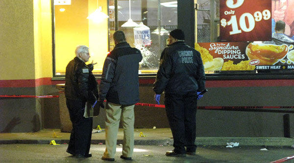 About 9:15 p.m., a man was shot to death inside a Popeye's Louisiana Kitchen, 5500 W. North Ave.
