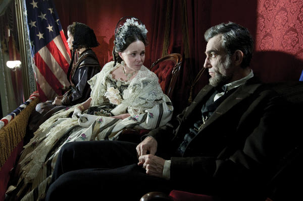 Sally Field and Daniel Day-Lewis appear in a scene from Lincoln. Field was nominated for an Academy Award for Best Supporting Actress and Lewis was nominated for Best Actor.