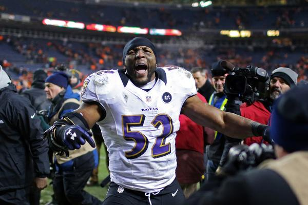 Baltimore Ravens linebacker Ray Lewis (52) celebrates after the AFC divisional round playoff game against the Denver Broncos at Sports Authority Field.
