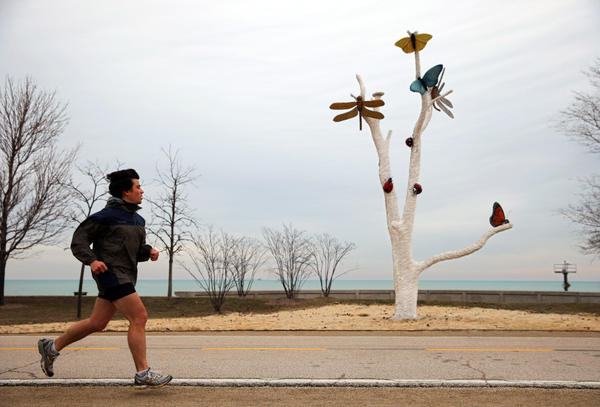 A runner jogs south along a snow-less Chicago Lakefront Trail on Saturday. Chicago passed the record yesterday for the latest date in the season without 1-inch of snowfall on a calendar day.