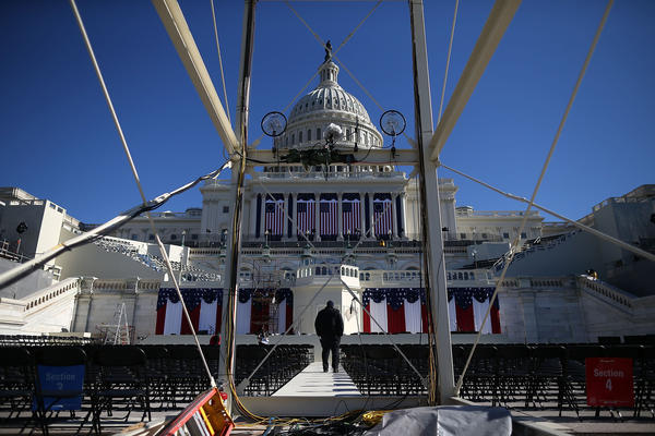 A U.S. Capitol Police officer Jeffery stands guard on the inauguation plattform at the U.S. Capitol Building on January 18, 2013 in Washington, DC. The U.S. capital is preparing for the second inauguration of U.S. President Barack Obama, which will take place on January 21.