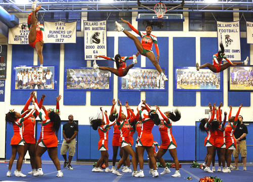 Blanche Ely High school cheerleaders compete in the state regional cheerleading competition at Dillard.