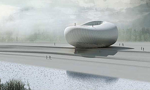 <b>NOVELTY:</b> Pei Zhu's proposal for the Art Museum of Yue Minjun resembles a river stone.