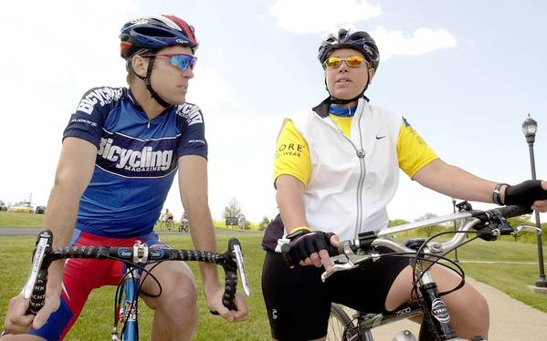 Frankie Andreu (left), a key figure in the Lance Armstrong doping scandal, talks with Sheri Bollinger of Northampton before the start of a 2005 fundraising ride in the Lehigh Valley.