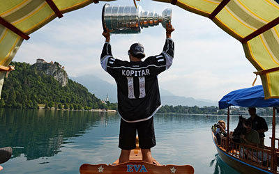 Anze Kopitar   returned to Slovenia with the Stanley Cup. According to tradition, the  Cup is given to each member of the team for 24 hours.