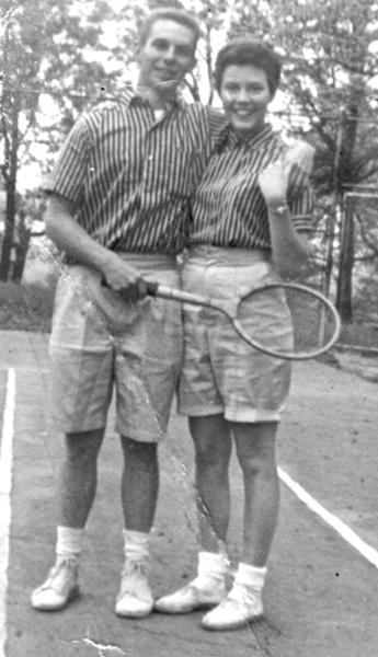 Don Burley enjoyed playing tennis. Mary Sue McMillin poses with him in this 1957 photo while they were dating.