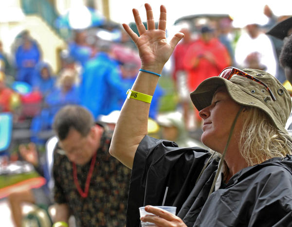 Erika Weber of Marco Island sways to the music of Jaimoe's Jasssz Band at The Sunshine Blues Festival Saturday at the Mizner Park Amphitheater in Boca Raton.