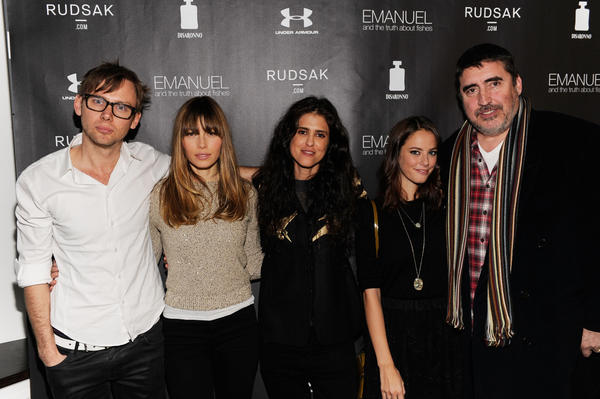 "From left to right, actors Jimmi Simpson and Jessica Biel, director Francesca Gregorini and actors Kaya Scodelario and Alfred Molina attend The Next Generation Filmmaker Dinner Series Presents ""Emanuel And The Truth About Fishes"" on January 18, 2013 in Park City, Utah."