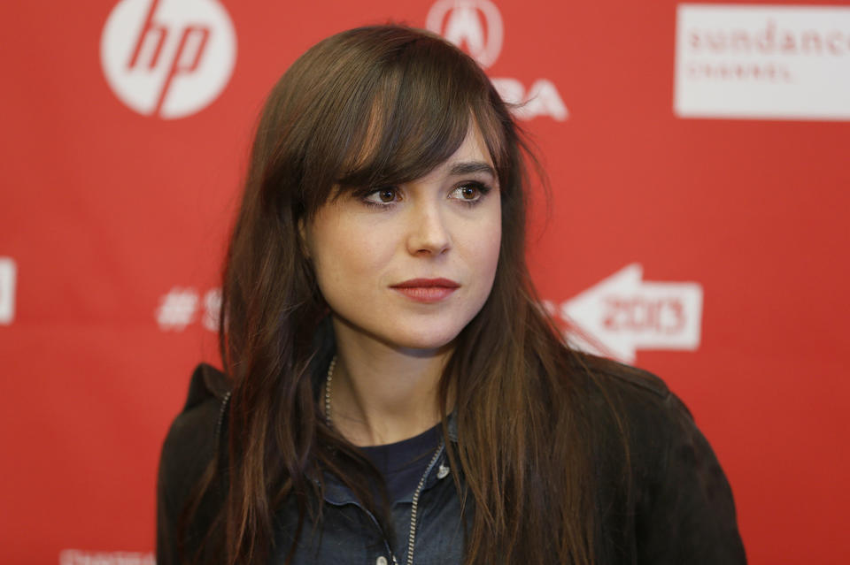 "Ellen Page poses at the premiere of ""Touchy Feely"" during the 2013 Sundance Film Festival on Saturday, Jan. 19, 2013, in Park City, Utah."