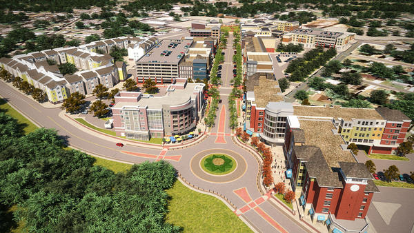 This artist's rendering, found on Sora Development's website, shows an aerial view of the planned $300 million Rowan Boulevard redevelopment project in Glassboro, N.J., that serves as a connection between the rapidly growing Rowan University and Glassboro's historic downtown business district. The project, which began in 2009 and includes plans for several mixed-use buildings, student housing facilities and multitier parking garages, is expected to boost the local economy by nearly $50 million annually when it's completed, according to Sora officials.