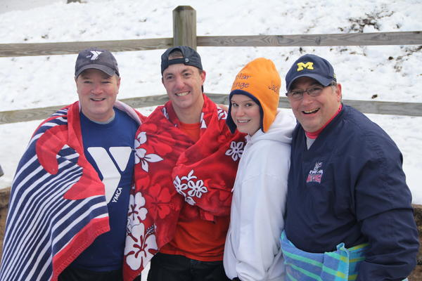 "The ""Eight Year Club"" including YMCA Director John Myers, Outdoor Director Mark Pooler, Jackie Nadeau, and Dr. Al Natelli,left to right, have participated in every Southington YMCA Polar Plunge since its inception."