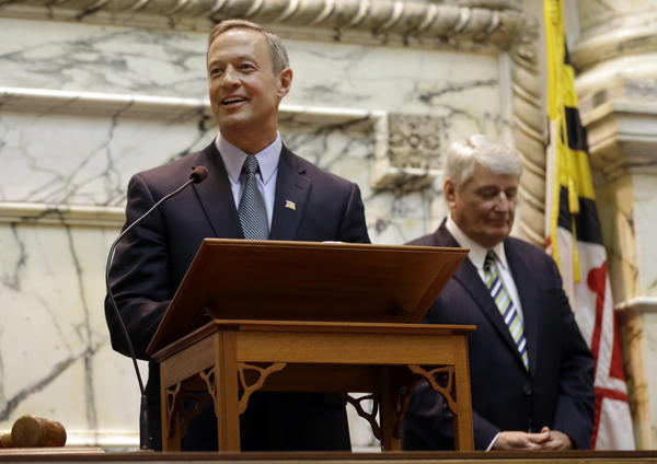 Maryland Gov. Martin O'Malley addresses members of the Maryland House of Delegates on the first day of the 2013 legislative session in Annapolis, Md., Wednesday, Jan. 9, 2013. Standing behind O'Malley is House Speaker Michael Busch.