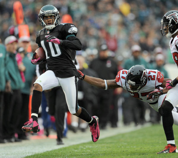 Philadelphia Eagles wide receiver DeSean Jackson (10) runs past Atlanta Falcons defensive back Robert McClain (27) at Lincoln Financial Field in Philadelphia on Sunday.