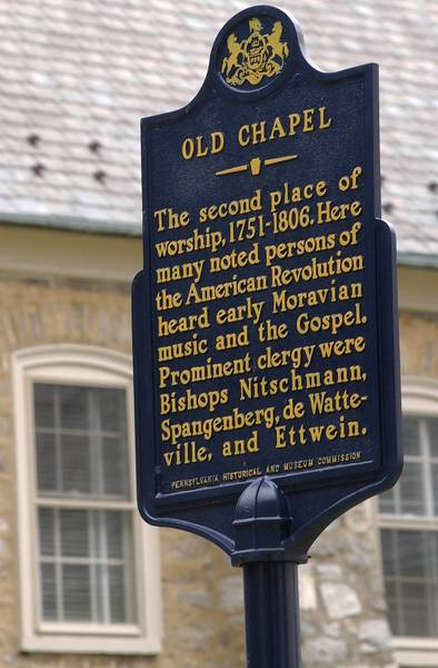 The historical marker for the Old Chapel on Heckwelder Street behind the Central Moravian Church in Bethlehem.