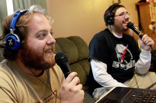 DJ Blake and Justin Wilson talk to the local band Dear Adamus during the weekly webcast they do from Blake's living room sofa.