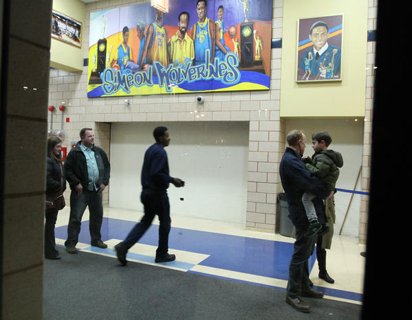Small group of people in the lobby at Simeon, following its basketball game against Julian on January 18. The game was closed to media and spectators.