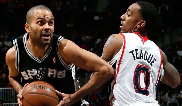 San Antonio's Tony Parker, shown driving past Atlanta's Jeff Teague earlier this season, has been battling injuries but produced 22 points and 10 assists in his most recent game.
