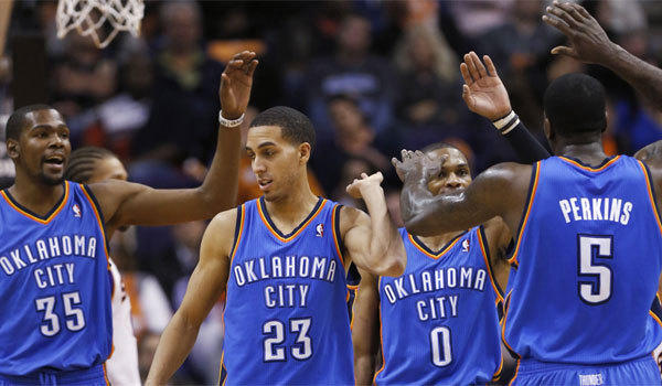 Kevin Durant, Kevin Martin, Russell Westbrook, Kendrick Perkins and the rest of the Oklahoma City Thunder remain at the top of The Times' NBA rankings.