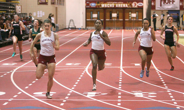 Northern State University's Lindsey Fluharty, third from the left, crosses the finish line first ahead of teammates Nicolia Edwards, fourth from left, and Katie Burton during the women's 55-meter dash final Saturday at the NSU Open track meet at the Barnett Center. In the background are Jamestown's Trisha Sem, back left, Tavia Loberg of Black Hills State and Jamestown's Josie Bopp, far right.