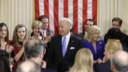 WASHINGTON -- Vice President Joe Biden took the first official step of the inaugural weekend, swearing the oath of office as he stood among friends, family and a circle of Democratic power players of his political history – and, perhaps, future.