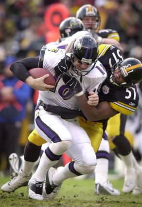 Ravens QB Elvis Grbac is sacked by Steelers linebacker Mike Jones during a playoff game at Heinz Field on Jan. 20, 2002.