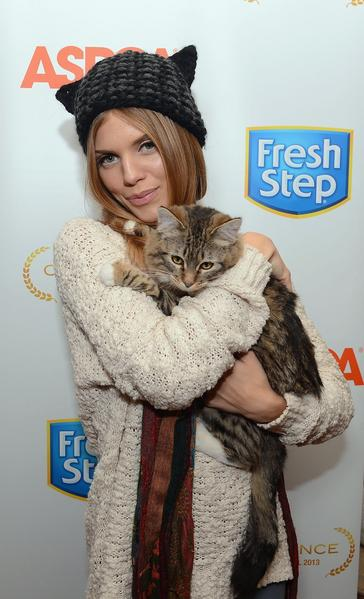 Actress and cat lover AnnaLynne McCord debuts a cat-inspired hat to benefit the ASPCA at the Fresh Step Catdance Film Festival in Park City, Utah.