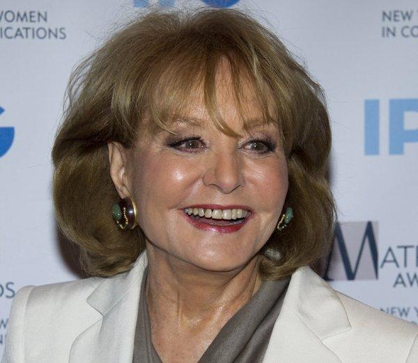 Barbara Walters fell at an inauguration party in Washington and has been hospitalized for observation.