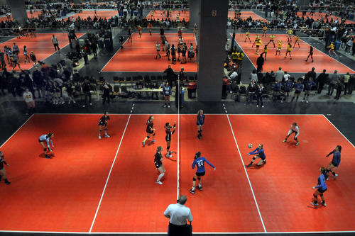 Several matches take place simultaneously during the Mizuno New England Winterfest Volleyball Tournament at the Connecticut Convention Center Sunday.